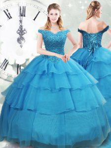 Designer Off The Shoulder Sleeveless Vestidos de Quinceanera Brush Train Beading and Ruffled Layers Baby Blue Organza