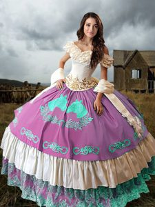 Perfect Multi-color Sleeveless Embroidery and Ruffled Layers Lace Up 15 Quinceanera Dress