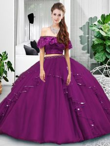 Eggplant Purple Lace Up Sweet 16 Quinceanera Dress Lace and Ruffles Sleeveless Floor Length
