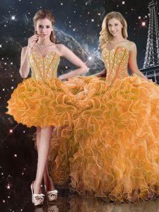 Orange Sleeveless Organza Lace Up Sweet 16 Dresses for Military Ball and Sweet 16 and Quinceanera