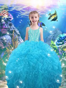 Floor Length Lace Up Little Girls Pageant Dress Aqua Blue for Quinceanera and Wedding Party with Beading and Ruffles