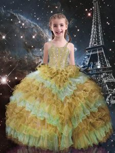 Customized Champagne Lace Up Pageant Gowns For Girls Beading and Ruffled Layers Sleeveless Floor Length