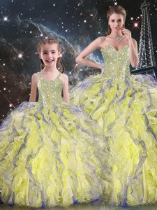 Designer Sweetheart Sleeveless Organza Quinceanera Gowns Beading and Ruffles Lace Up