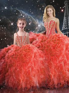 Flirting Coral Red Organza Lace Up Quinceanera Gowns Sleeveless Floor Length Beading and Ruffles
