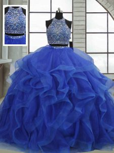 Sleeveless Organza Floor Length Lace Up Sweet 16 Dress in Royal Blue with Beading and Ruffles