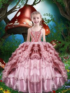Ball Gowns Kids Formal Wear Baby Pink Straps Organza Sleeveless Floor Length Lace Up