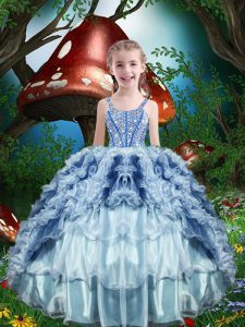 Baby Blue Straps Neckline Beading and Ruffles and Ruffled Layers Little Girls Pageant Gowns Sleeveless Lace Up