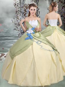 Designer Multi-color Scalloped Lace Up Ruching and Hand Made Flower Quinceanera Dresses Sleeveless