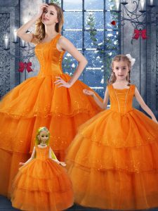 Organza Sleeveless Floor Length 15 Quinceanera Dress and Ruffled Layers