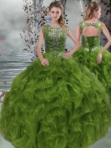 Organza Scoop Sleeveless Lace Up Beading and Ruffles Ball Gown Prom Dress in Olive Green