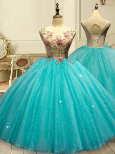 Ball Gowns Quinceanera Gown Aqua Blue Scoop Tulle Sleeveless Floor Length Lace Up