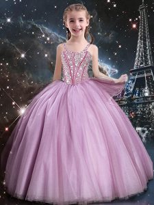 Attractive Rose Pink Sleeveless Beading Floor Length Kids Pageant Dress