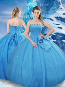 Simple Baby Blue Lace Up Quinceanera Gowns Bowknot Sleeveless Floor Length