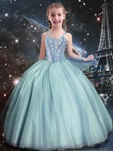 Eye-catching Teal Sleeveless Beading Floor Length Little Girl Pageant Dress