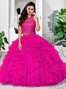 Fuchsia Zipper Quinceanera Gown Lace and Ruffles Sleeveless Floor Length