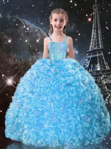 Aqua Blue Sleeveless Organza Lace Up Kids Formal Wear for Quinceanera and Wedding Party