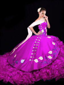 Popular Embroidery and Ruffles 15th Birthday Dress Fuchsia Lace Up Sleeveless Brush Train