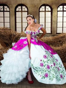 Off The Shoulder Sleeveless Lace Up Sweet 16 Dresses Multi-color Taffeta