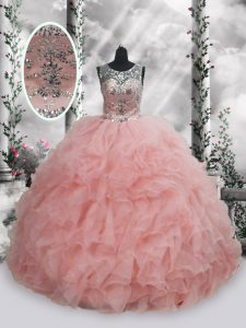 Colorful Floor Length Baby Pink Quinceanera Dresses Scoop Sleeveless Lace Up