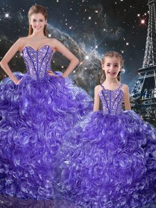 Flirting Purple Sleeveless Organza Lace Up Quinceanera Gown for Military Ball and Sweet 16 and Quinceanera