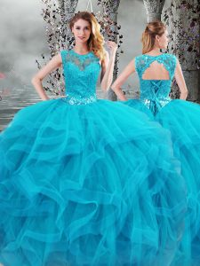 Baby Blue Scoop Lace Up Beading and Ruffles Ball Gown Prom Dress Sleeveless
