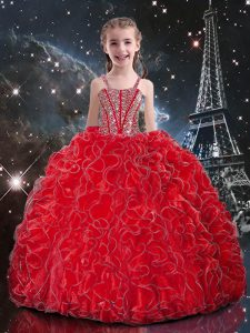 Beautiful Coral Red Sleeveless Beading and Ruffles Floor Length Little Girls Pageant Dress Wholesale
