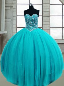 Super Sweetheart Sleeveless Quince Ball Gowns Floor Length Beading Aqua Blue Tulle