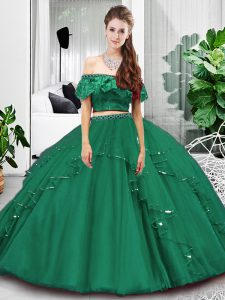 Dark Green Lace Up Off The Shoulder Lace and Ruffles Ball Gown Prom Dress Tulle Sleeveless