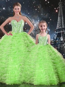 Lace Up Sweetheart Beading and Ruffles Quinceanera Gown Tulle Sleeveless
