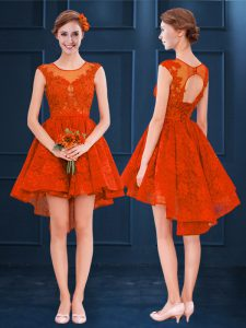 Sweet Scoop Sleeveless Court Dresses for Sweet 16 High Low Lace Rust Red Satin and Lace