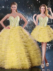Decent Yellow Ball Gowns Organza Sweetheart Sleeveless Beading and Ruffled Layers Floor Length Lace Up 15 Quinceanera Dress