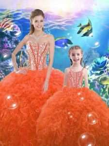 Orange Red Ball Gowns Sweetheart Sleeveless Organza Floor Length Lace Up Beading and Ruffles Quinceanera Dresses