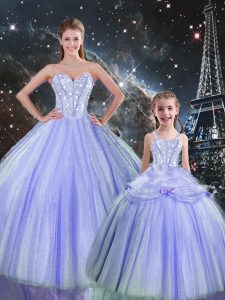Custom Designed Floor Length Lavender Sweet 16 Quinceanera Dress Sweetheart Sleeveless Lace Up