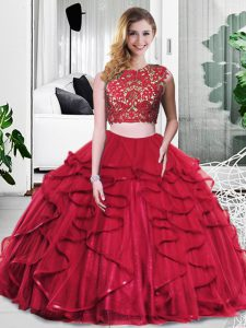 Luxury Tulle Sleeveless Floor Length Ball Gown Prom Dress and Lace and Ruffles