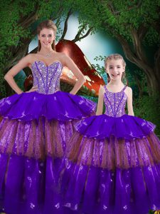 Fancy Eggplant Purple Sleeveless Beading and Ruffled Layers Floor Length Sweet 16 Dress
