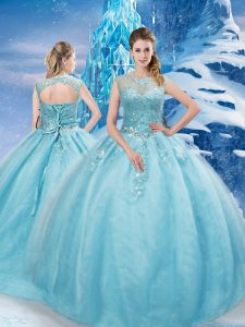 Aqua Blue Tulle Lace Up Quinceanera Dress Sleeveless Brush Train Beading