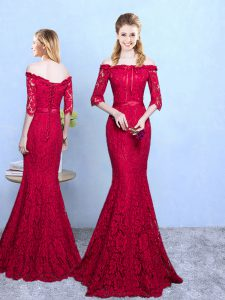 Decent Wine Red Mermaid Lace Damas Dress Lace Up Lace Half Sleeves Floor Length