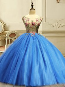Sleeveless Floor Length Appliques and Sequins Lace Up Quince Ball Gowns with Baby Blue