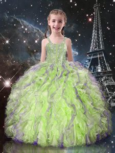 Yellow Green Little Girls Pageant Dress Quinceanera and Wedding Party with Beading and Ruffles Straps Sleeveless Lace Up