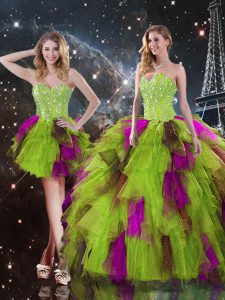 Multi-color Tulle Lace Up Sweetheart Sleeveless High Low Quinceanera Dress Ruffles