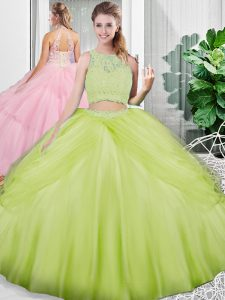 Yellow Green Lace Up Scoop Lace and Ruching Quinceanera Dresses Tulle Sleeveless