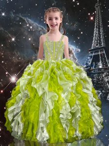Affordable Olive Green Lace Up Straps Beading and Ruffles Pageant Gowns For Girls Organza Sleeveless