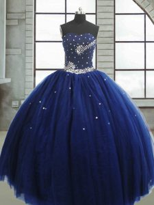 Floor Length Navy Blue 15 Quinceanera Dress Sweetheart Sleeveless Lace Up