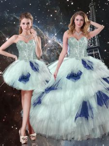 High Class Blue And White Three Pieces Beading and Ruffled Layers and Sequins Sweet 16 Dress Lace Up Tulle Sleeveless Floor Length