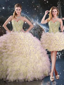 Flirting Light Yellow Sleeveless Floor Length Beading and Ruffles Lace Up Quinceanera Dresses