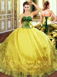 Gold Sweet 16 Dress Military Ball and Sweet 16 and Quinceanera with Embroidery and Ruffles Sweetheart Sleeveless Lace Up
