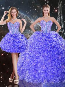 Hot Selling Purple Three Pieces Organza Sweetheart Sleeveless Beading and Ruffles Floor Length Lace Up Quinceanera Dresses