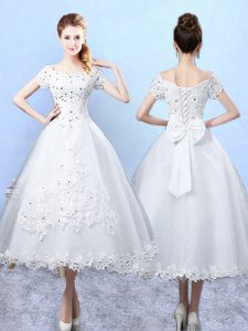 White A-line Beading and Lace and Bowknot Dama Dress for Quinceanera Lace Up Tulle Short Sleeves Ankle Length