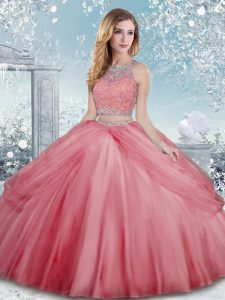 Cheap Watermelon Red Scoop Clasp Handle Beading Sweet 16 Quinceanera Dress Sleeveless