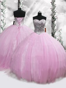 Sweetheart Sleeveless Tulle Quinceanera Dress Beading Brush Train Lace Up